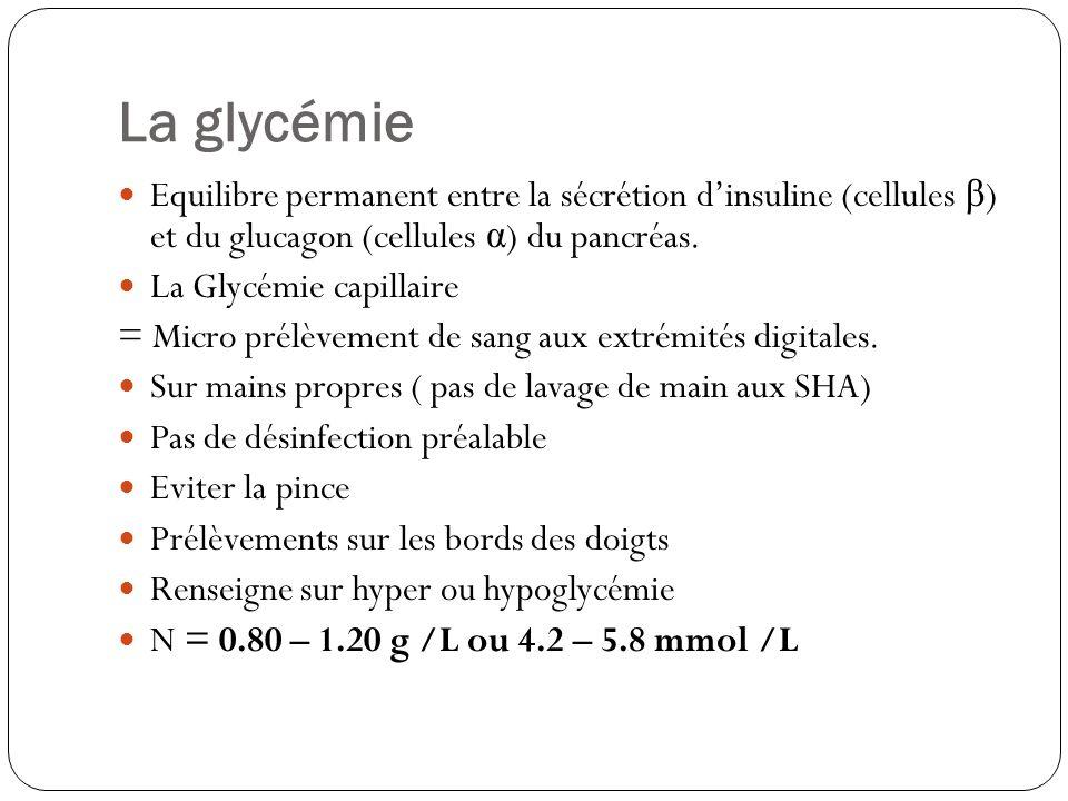 La glycémie Equilibre permanent entre la sécrétion d'insuline (cellules β) et du glucagon (cellules α) du pancréas.