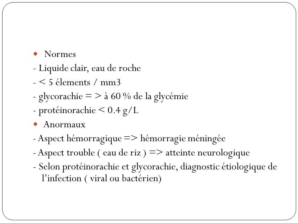 Normes- Liquide clair, eau de roche. - < 5 élements / mm3. - glycorachie = > à 60 % de la glycémie.