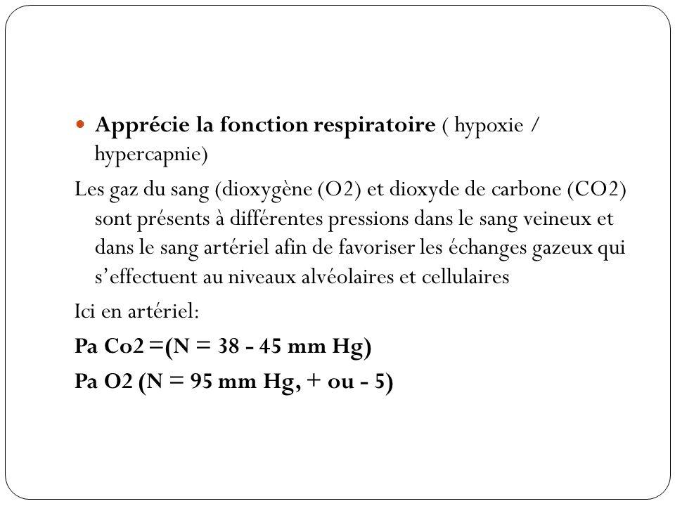 Apprécie la fonction respiratoire ( hypoxie / hypercapnie)