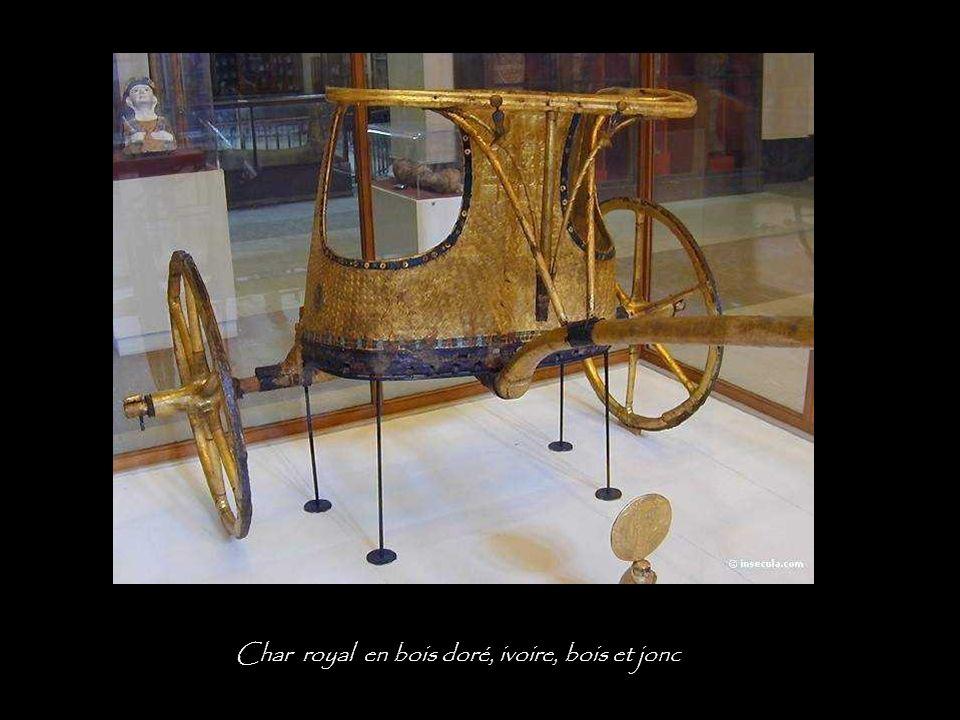 Char royal en bois doré, ivoire, bois et jonc