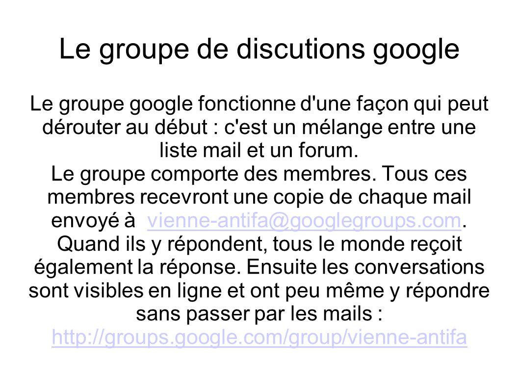 Le groupe de discutions google