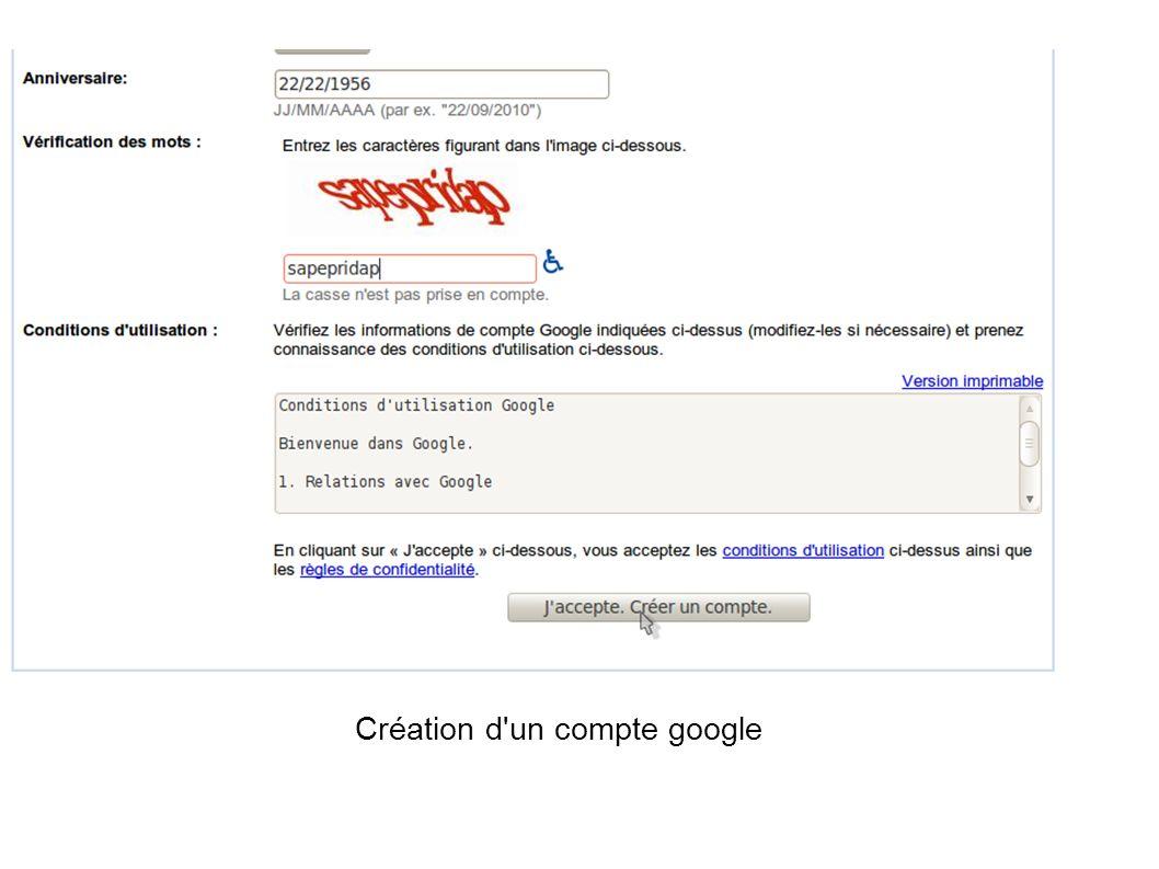 Création d un compte google