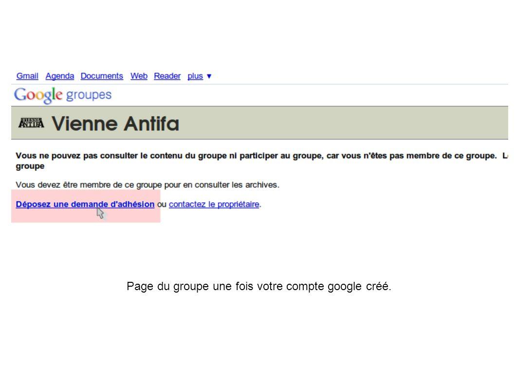 Page du groupe une fois votre compte google créé.