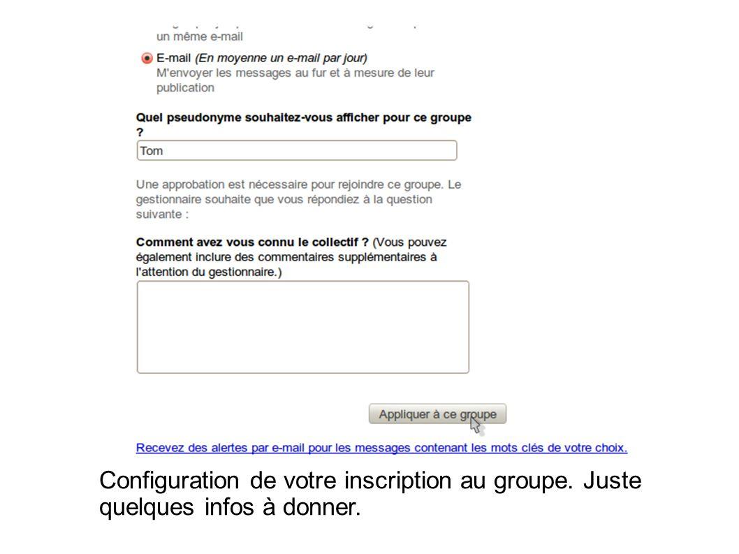 Configuration de votre inscription au groupe