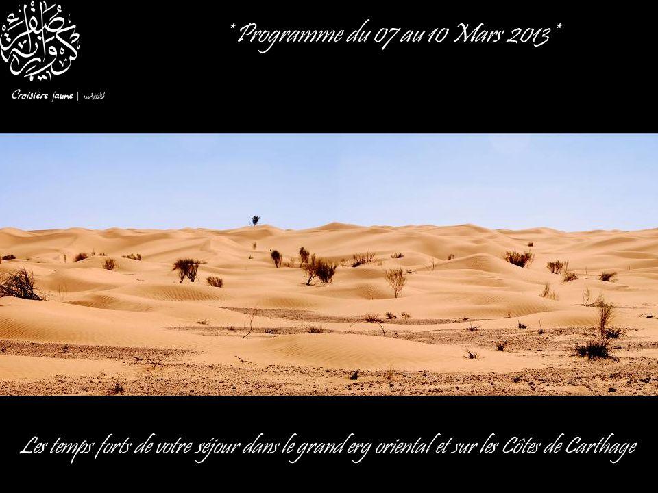 * Programme du 07 au 10 Mars 2013* Les temps forts de votre séjour dans le grand erg oriental et sur les Côtes de Carthage.
