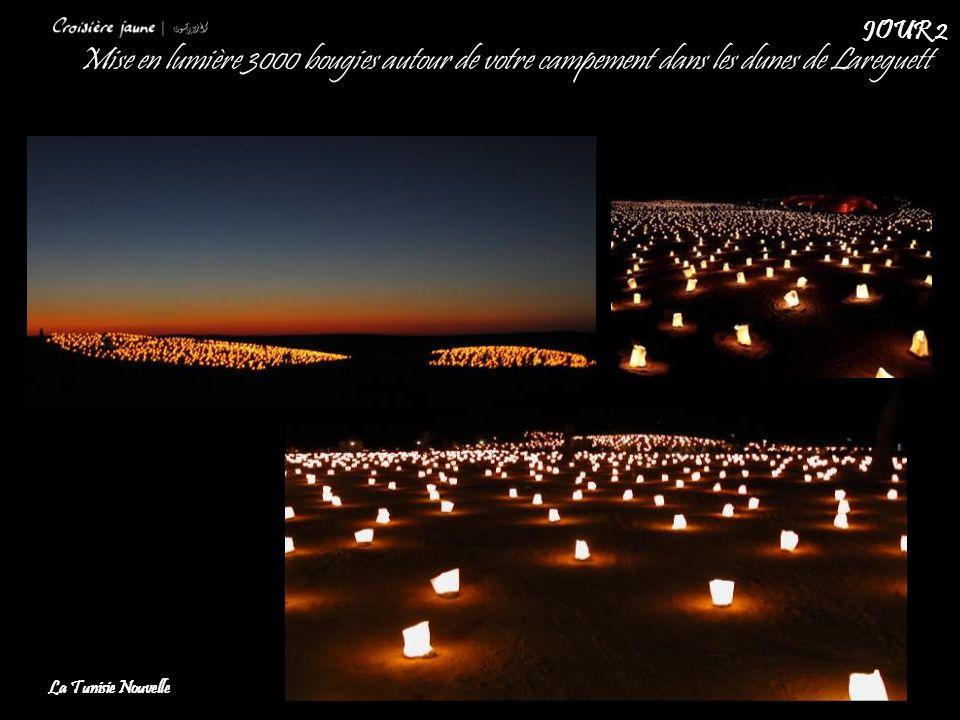 JOUR 2 Mise en lumière 3000 bougies autour de votre campement dans les dunes de Lareguett.
