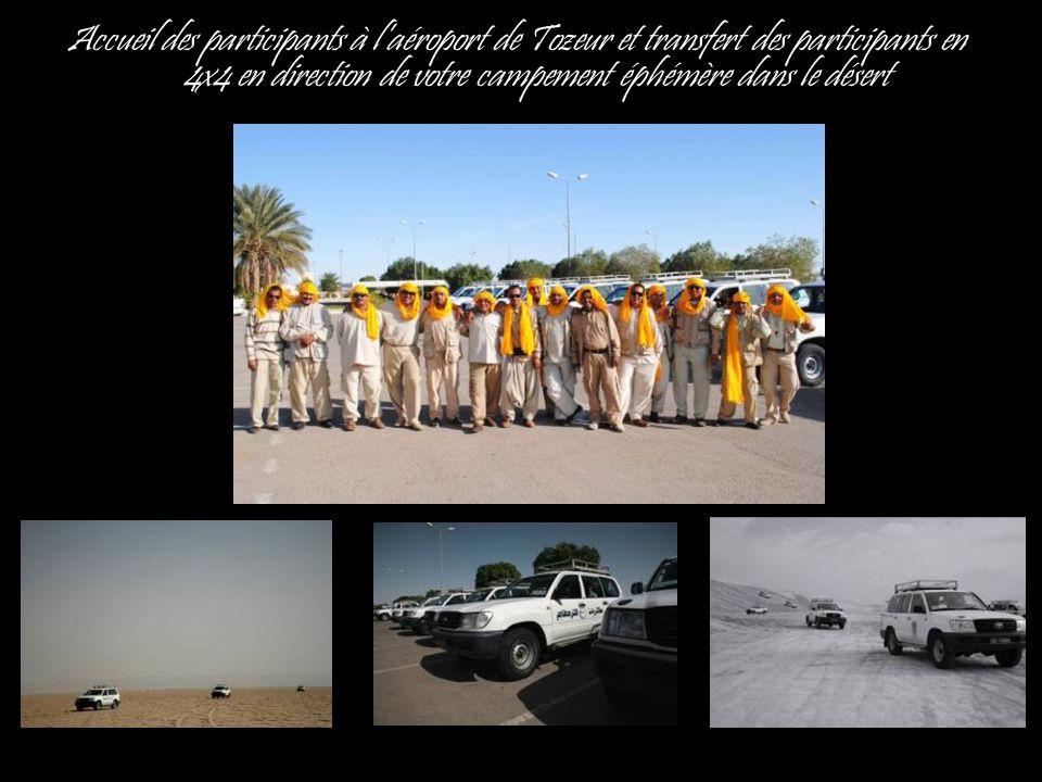 Accueil des participants à l'aéroport de Tozeur et transfert des participants en 4x4 en direction de votre campement éphémère dans le désert