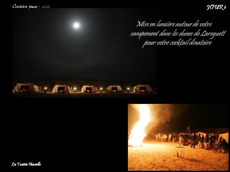JOUR 1 Mise en lumière autour de votre campement dans les dunes de Lareguett pour votre cocktail dinatoire.