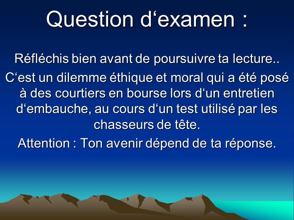 Question d'examen : Réfléchis bien avant de poursuivre ta lecture..