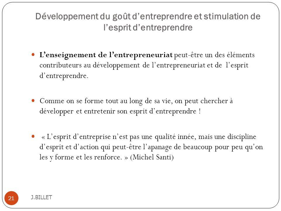 Développement du goût d'entreprendre et stimulation de l'esprit d'entreprendre