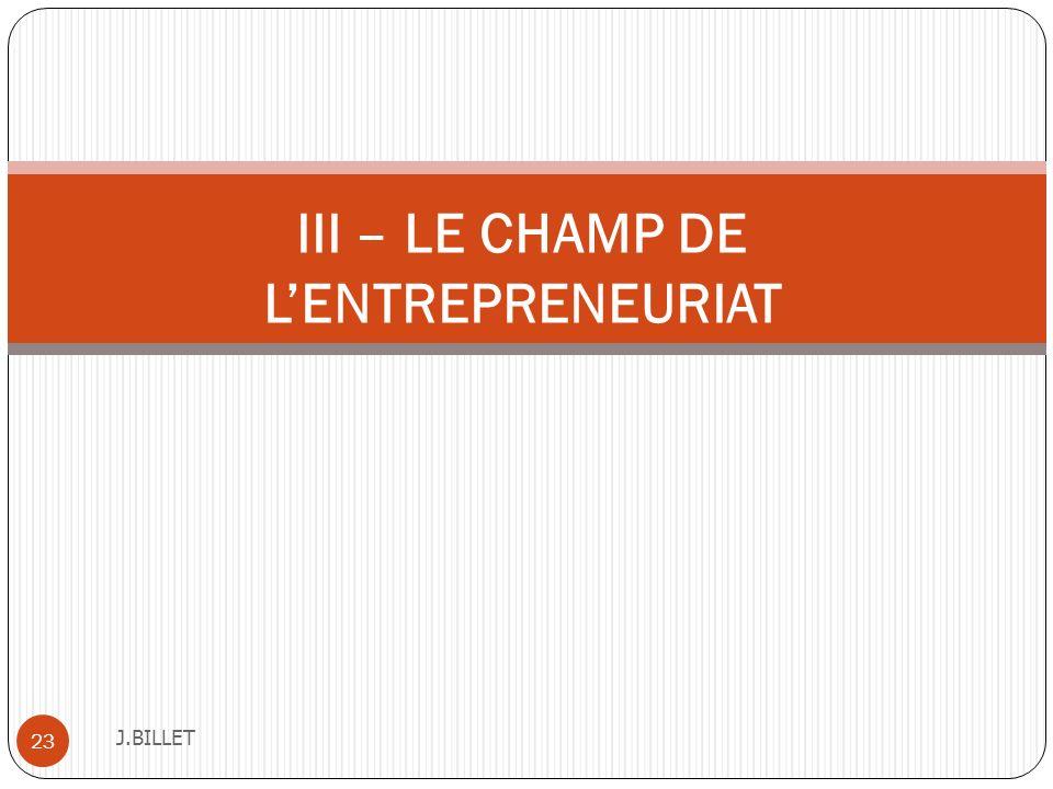 III – LE CHAMP DE L'ENTREPRENEURIAT