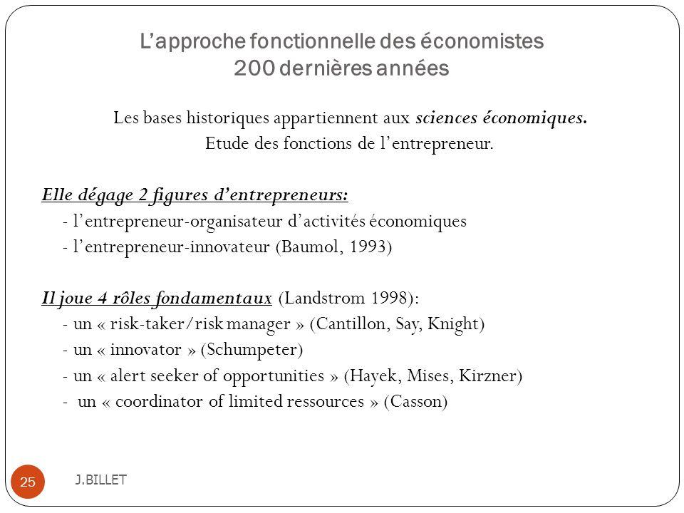 L'approche fonctionnelle des économistes 200 dernières années