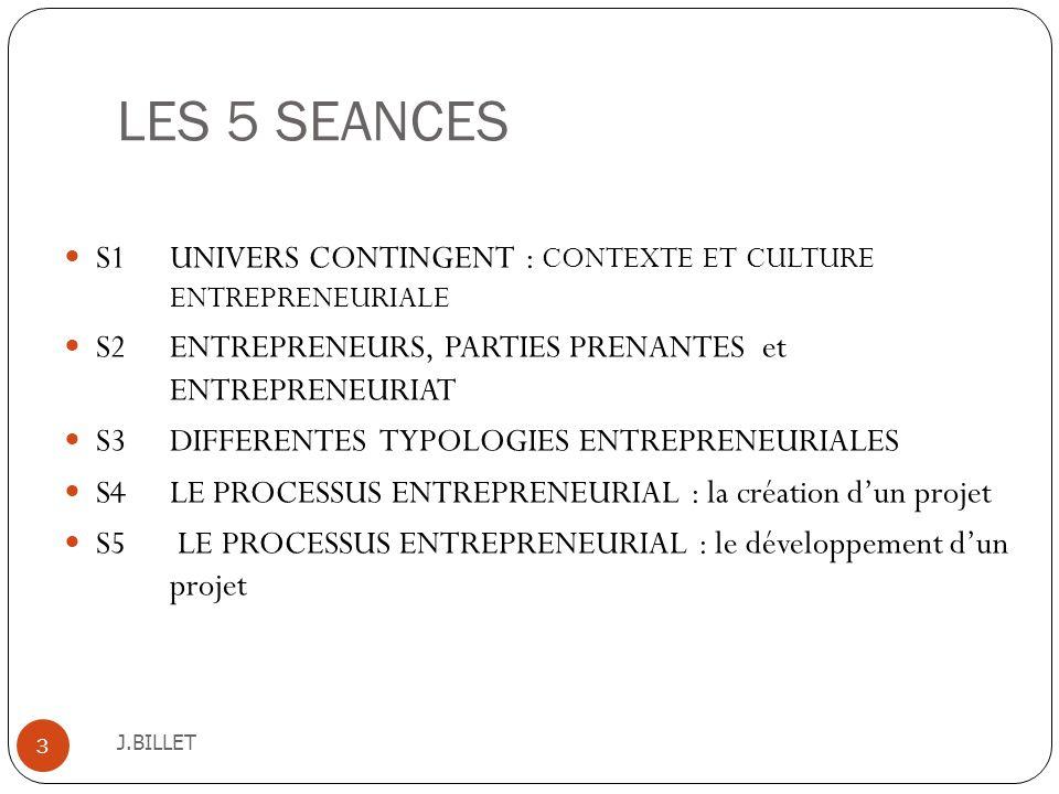 LES 5 SEANCES S1 UNIVERS CONTINGENT : CONTEXTE ET CULTURE ENTREPRENEURIALE. S2 ENTREPRENEURS, PARTIES PRENANTES et ENTREPRENEURIAT.