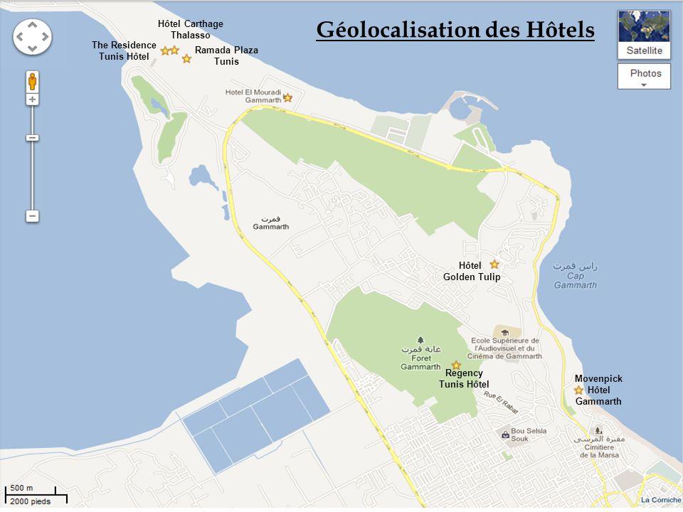 Géolocalisation des Hôtels