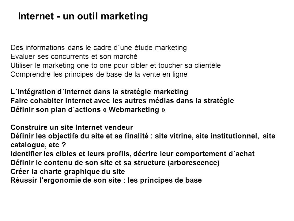 Internet - un outil marketing