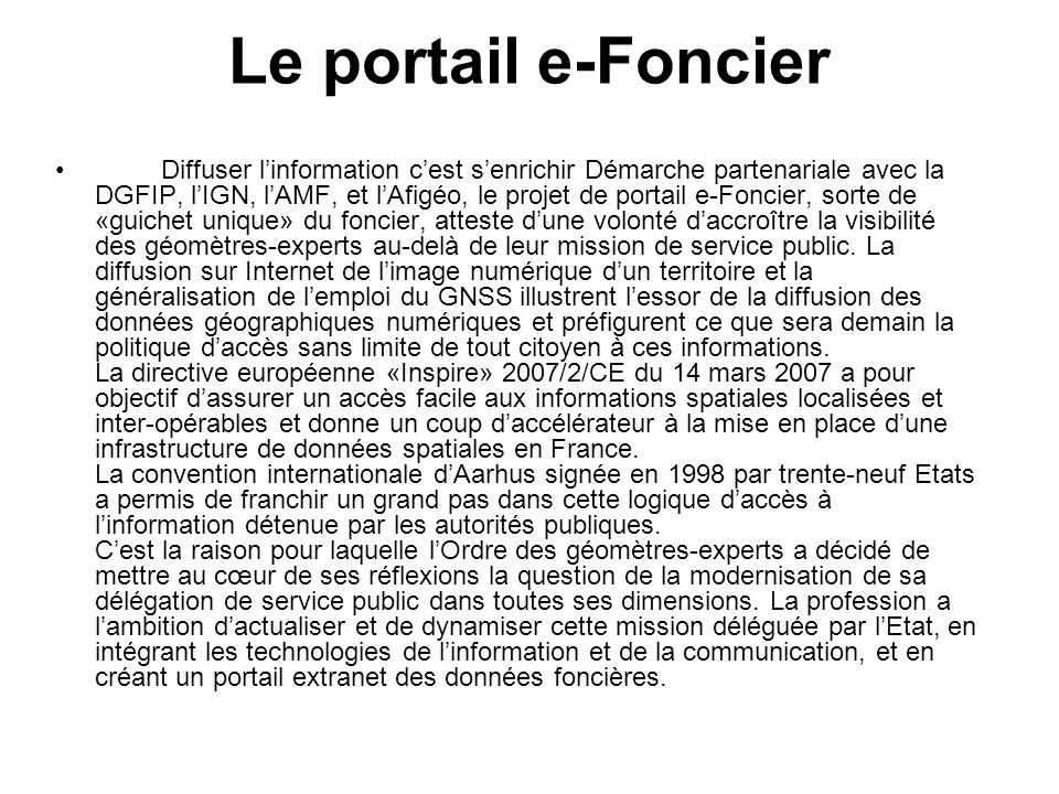 Le portail e-Foncier