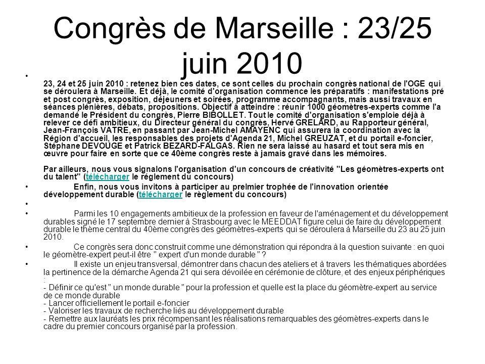 Congrès de Marseille : 23/25 juin 2010