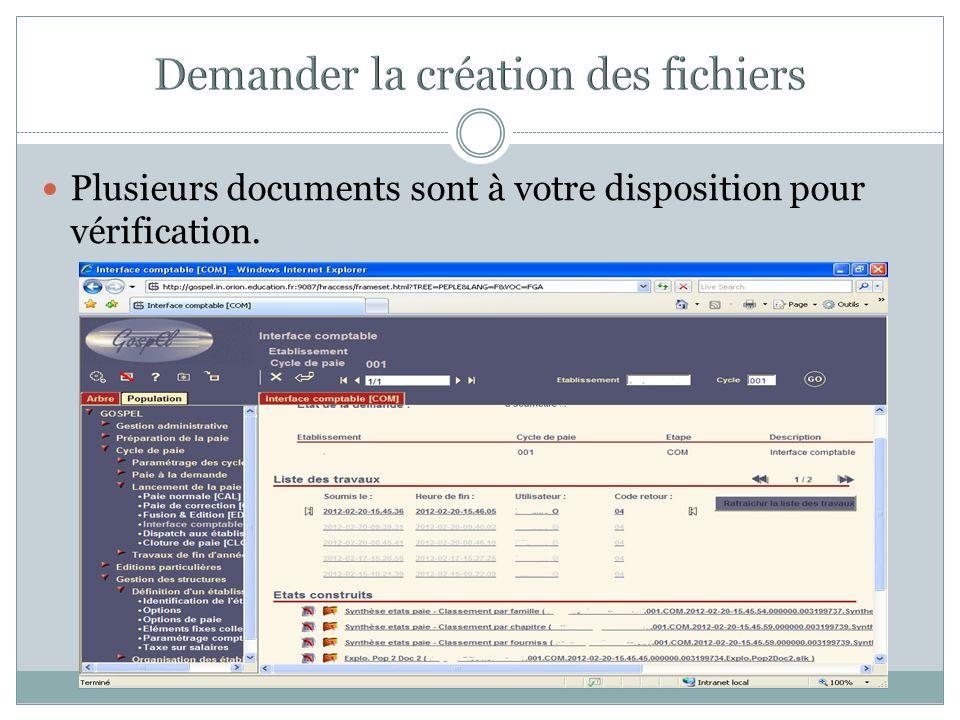 Demander la création des fichiers