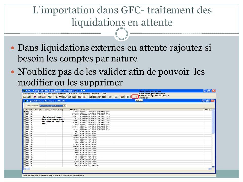 L'importation dans GFC- traitement des liquidations en attente