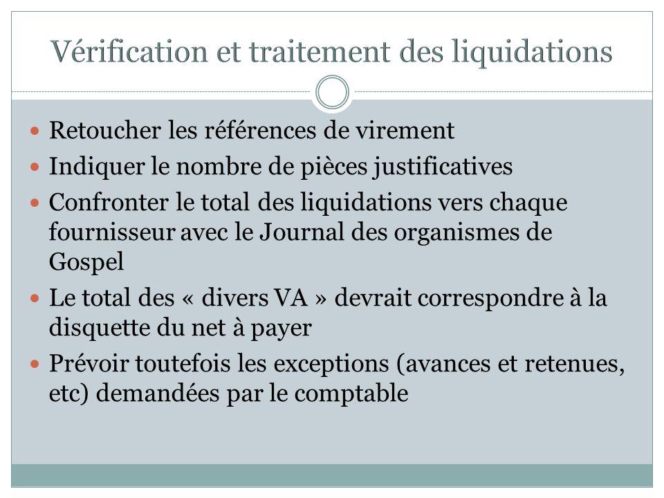 Vérification et traitement des liquidations