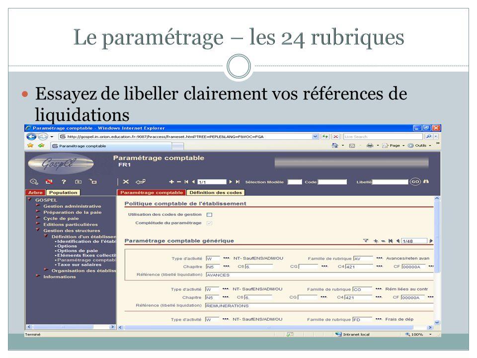 Le paramétrage – les 24 rubriques