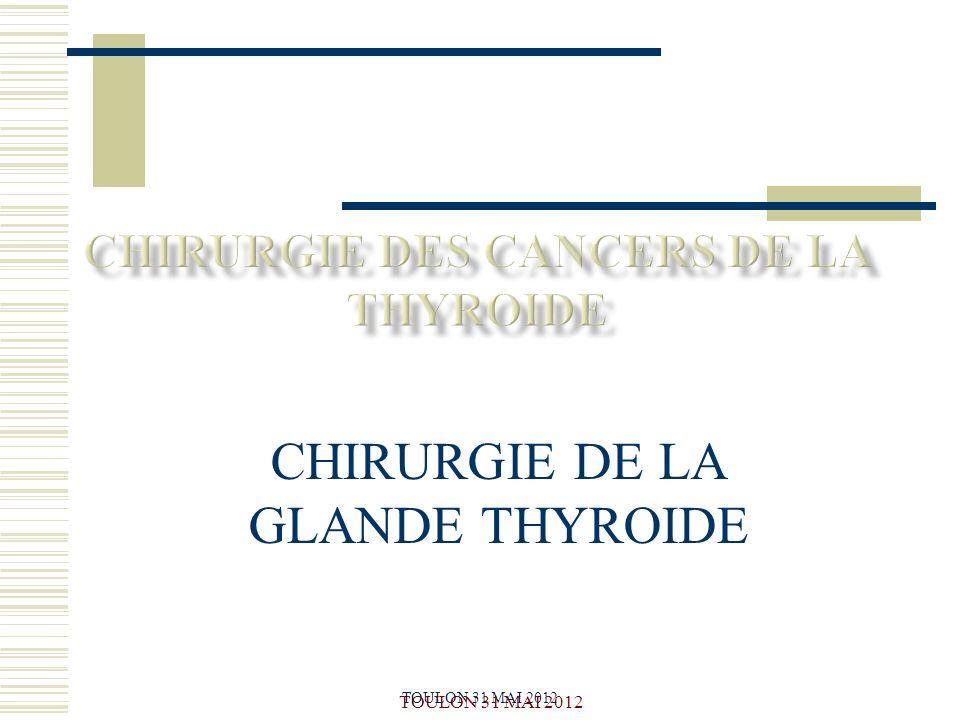 CHIRURGIE DES CANCERS DE LA THYROIDE