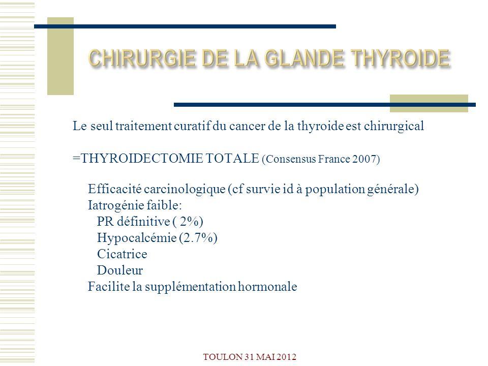 Le seul traitement curatif du cancer de la thyroide est chirurgical