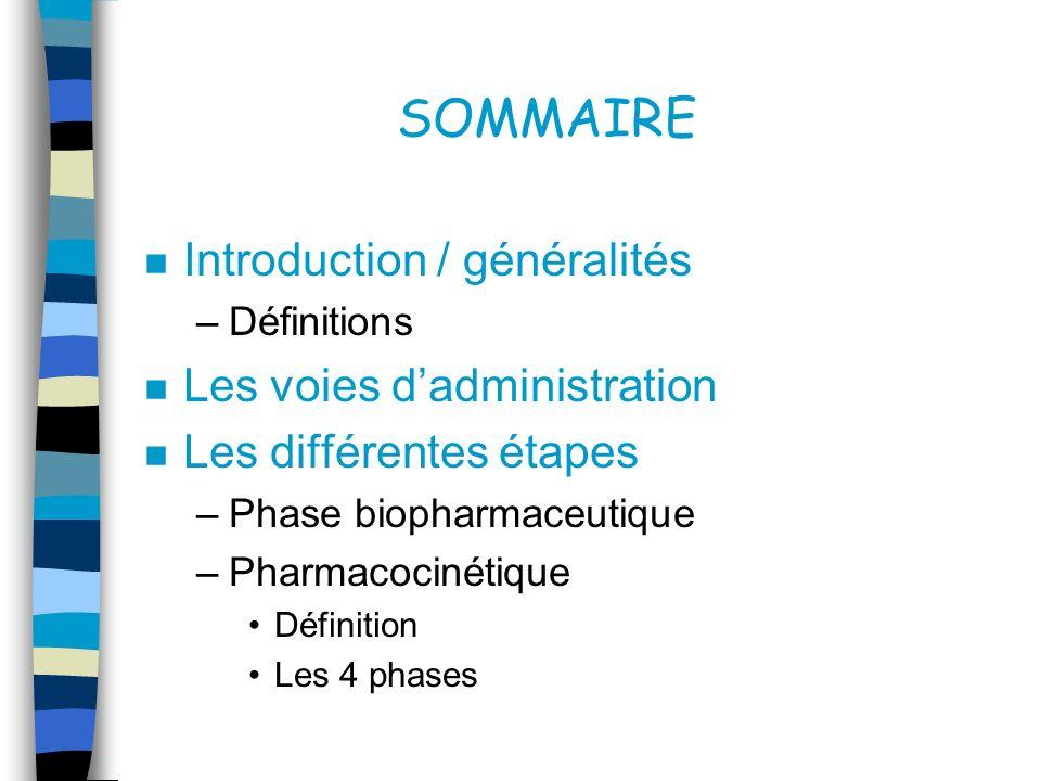 SOMMAIRE Introduction / généralités Les voies d'administration