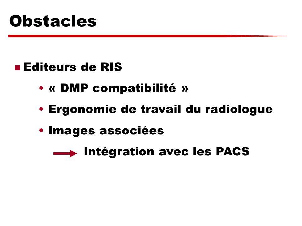 Obstacles Editeurs de RIS « DMP compatibilité »