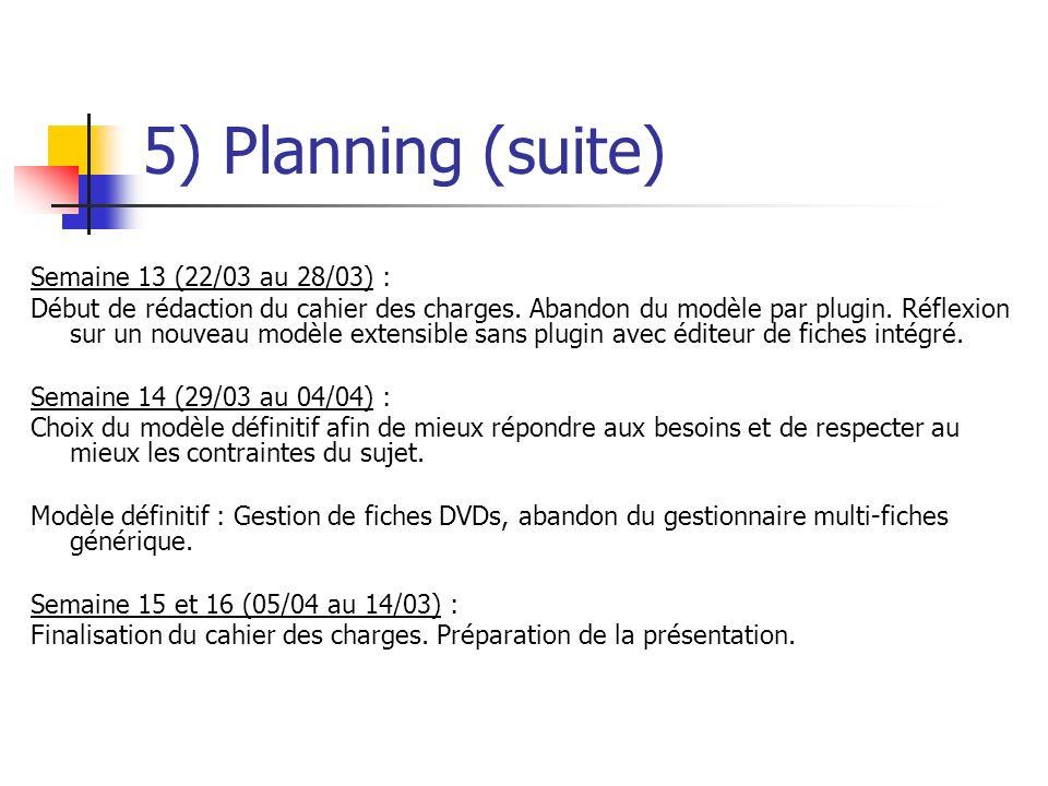 5) Planning (suite) Semaine 13 (22/03 au 28/03) :