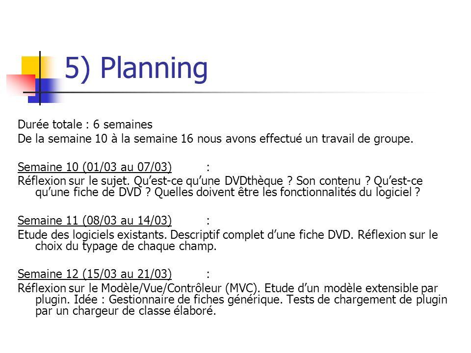 5) Planning Durée totale : 6 semaines