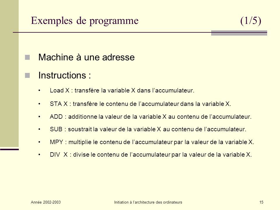 Exemples de programme (1/5)
