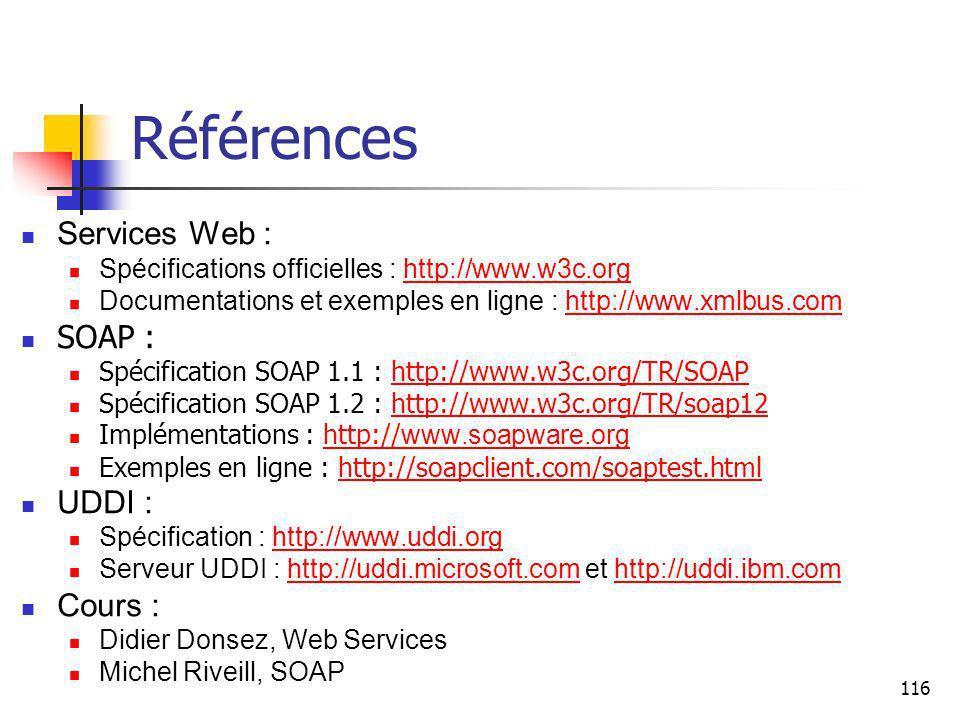 Références Services Web : SOAP : UDDI : Cours :