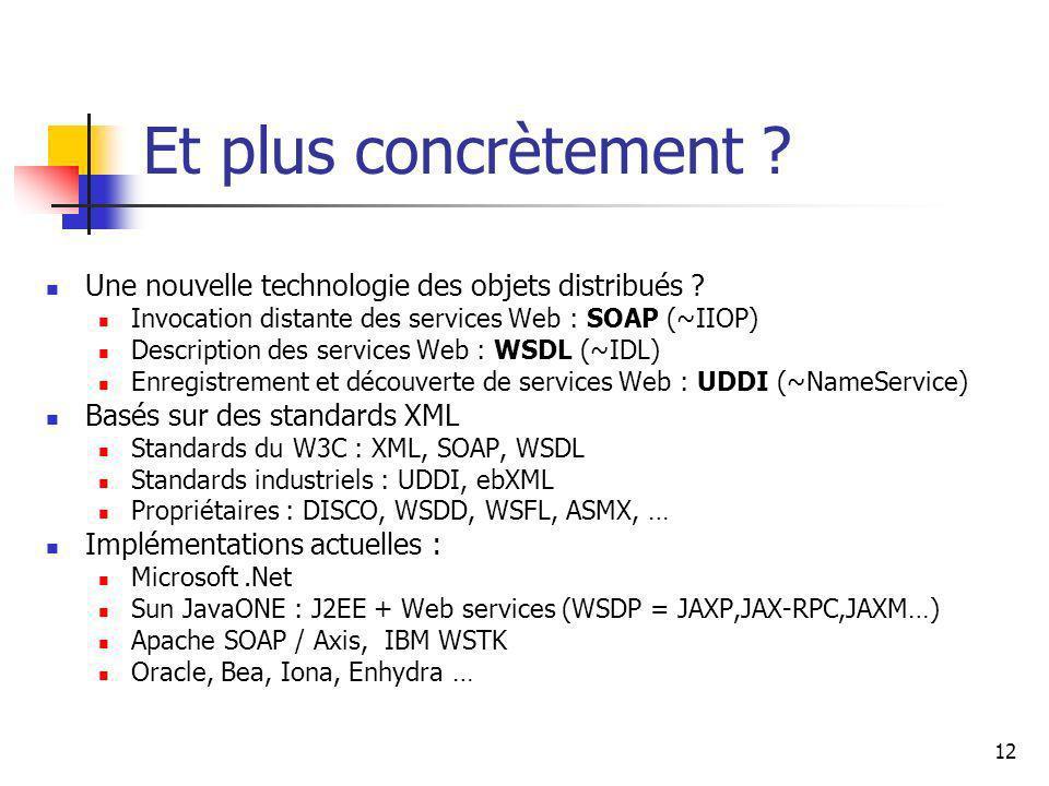 Et plus concrètement Une nouvelle technologie des objets distribués Invocation distante des services Web : SOAP (~IIOP)