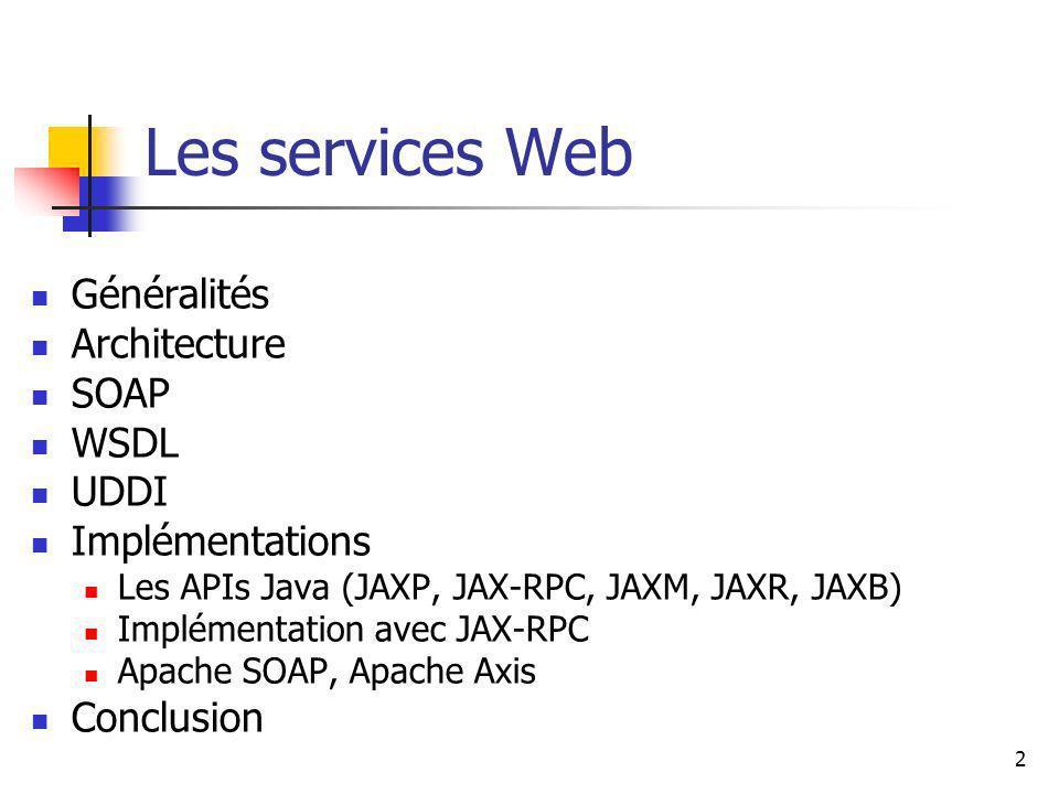 Les services Web Généralités Architecture SOAP WSDL UDDI
