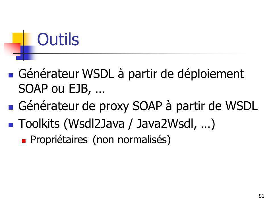 Outils Générateur WSDL à partir de déploiement SOAP ou EJB, …