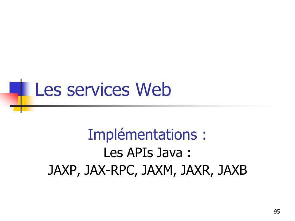 Implémentations : Les APIs Java : JAXP, JAX-RPC, JAXM, JAXR, JAXB