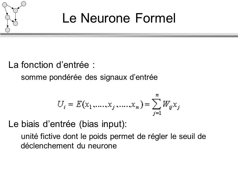 Le Neurone Formel La fonction d'entrée :