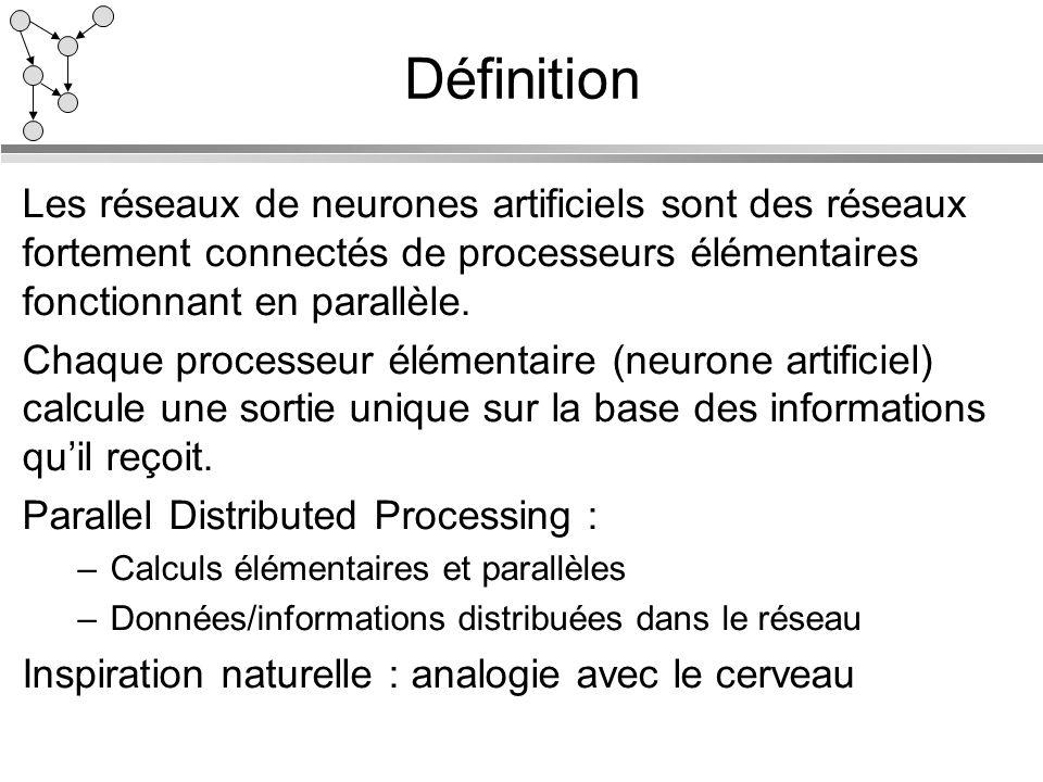 DéfinitionLes réseaux de neurones artificiels sont des réseaux fortement connectés de processeurs élémentaires fonctionnant en parallèle.