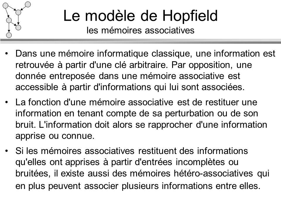 Le modèle de Hopfield les mémoires associatives