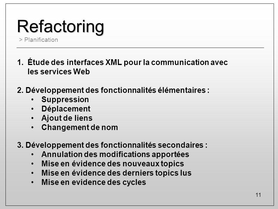Refactoring Étude des interfaces XML pour la communication avec