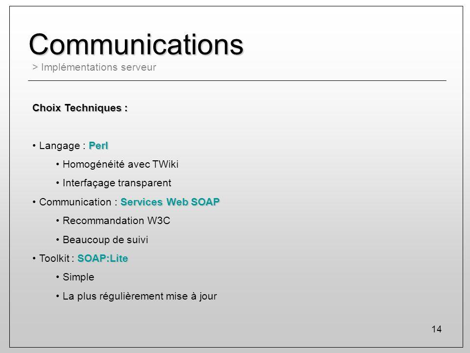 Communications > Implémentations serveur Choix Techniques :