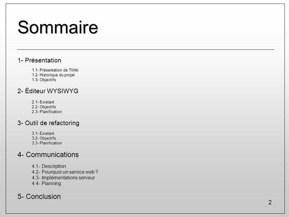 Sommaire 4- Communications 5- Conclusion 1- Présentation