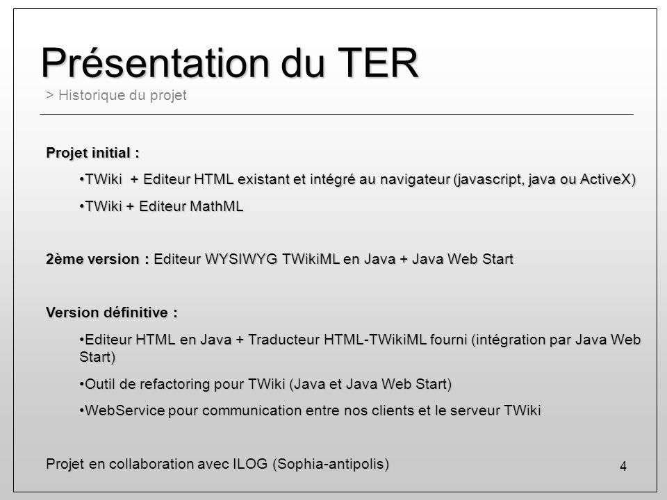 Présentation du TER > Historique du projet Projet initial :