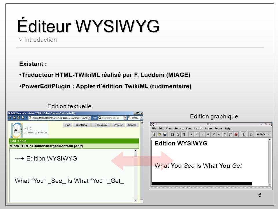 Éditeur WYSIWYG > Introduction Existant :