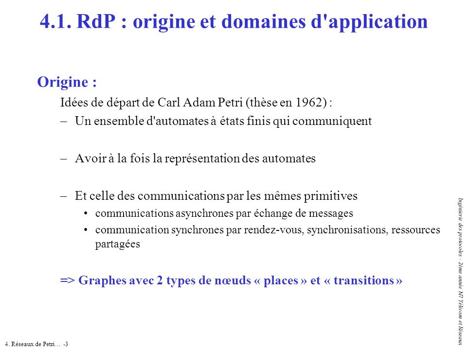 4.1. RdP : origine et domaines d application