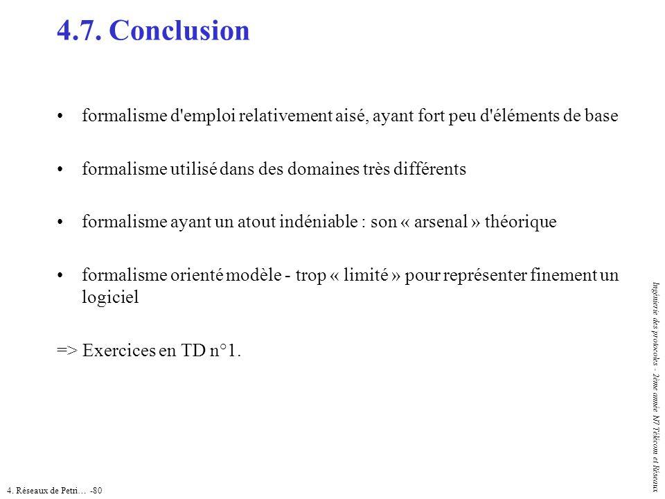 4.7. Conclusion formalisme d emploi relativement aisé, ayant fort peu d éléments de base. formalisme utilisé dans des domaines très différents.