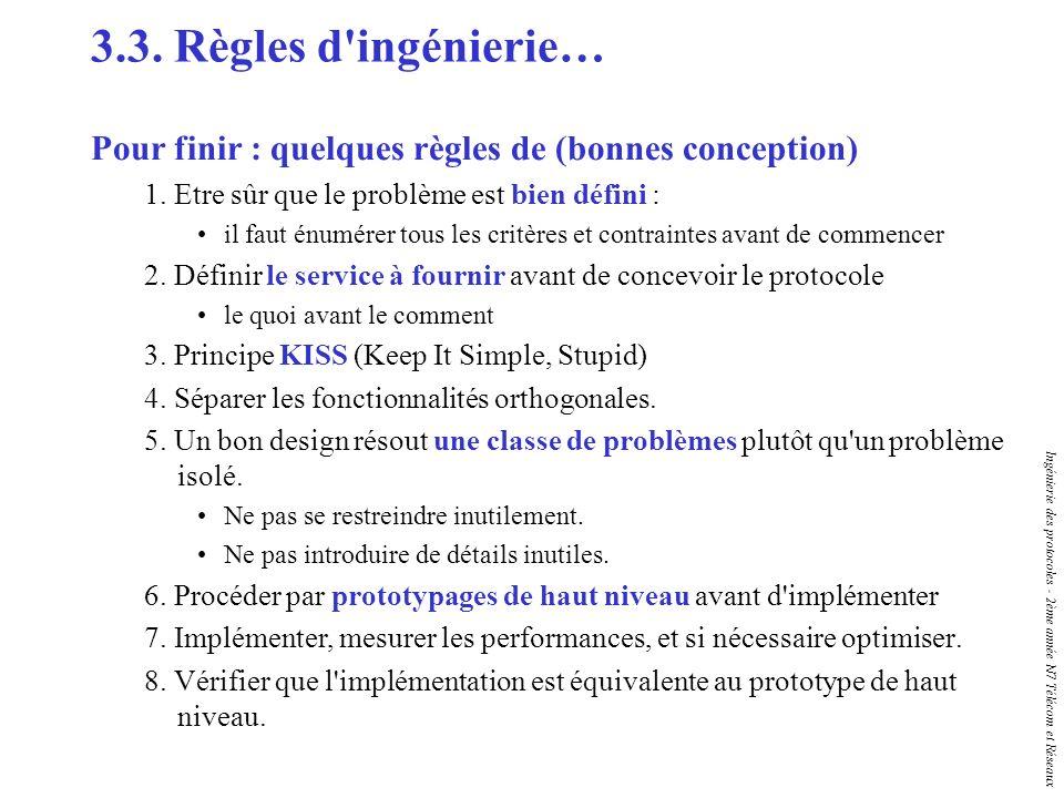 3.3. Règles d ingénierie… Pour finir : quelques règles de (bonnes conception) 1. Etre sûr que le problème est bien défini :