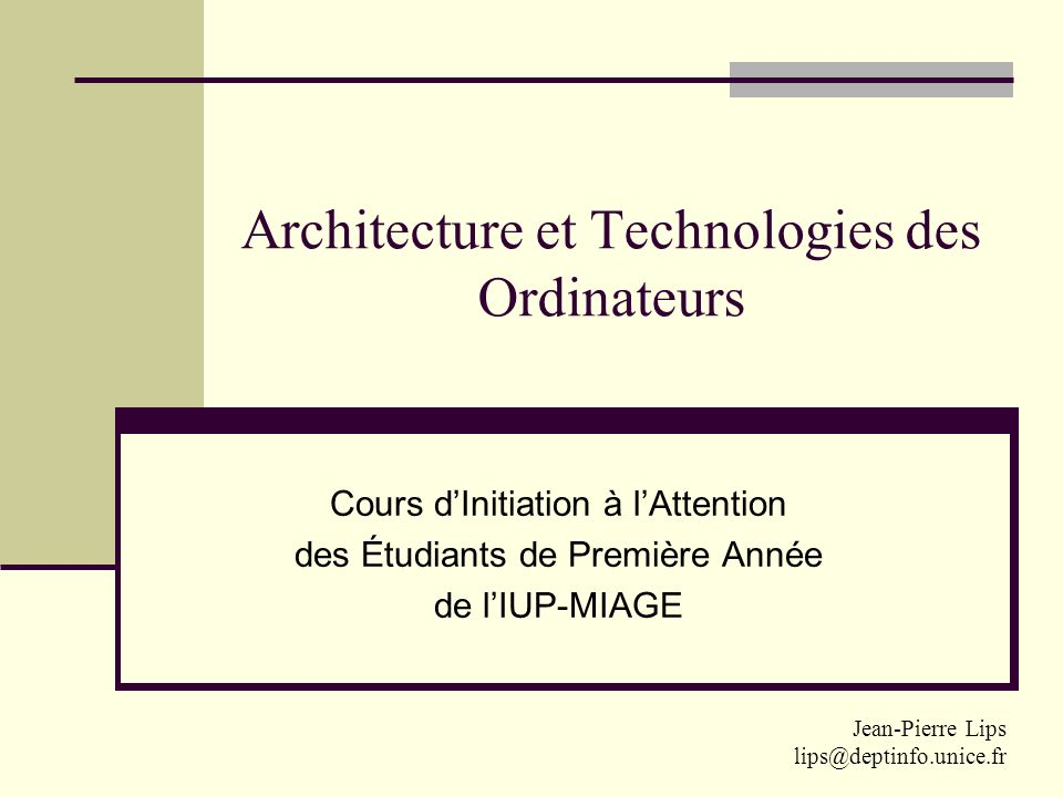 Architecture et Technologies des Ordinateurs