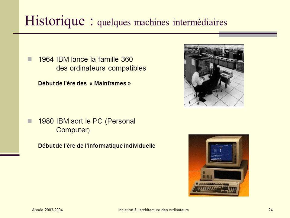 Historique : quelques machines intermédiaires
